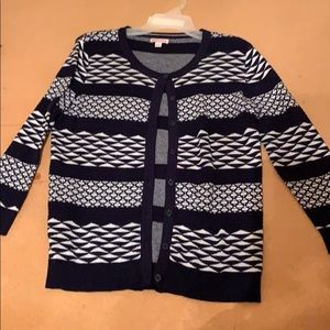 Navy Blue and White Geometric Print Sweater